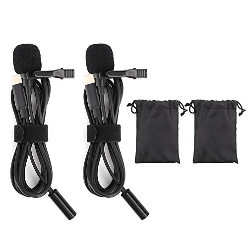 2Pcs Type‑C Lavalier Clip‑on Microphone, Omnidirectional Condenser Outdoor Interview Microphone for Game Live Broadcast Recording