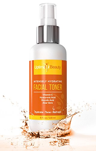 Intensely Hydrating Facial Toner For All Skin Types – Contains Vitamin C, Hyaluronic Acid, Glycolic Acid and Aloe Vera. The best skin care face toner for women and for men. – 4oz spray bottle.
