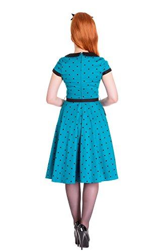 schwarzen 4545 Hell Damen Dots mit Kleid Brooke Kleid Punkte Türkisblau Bunny Dunkles wvqwY