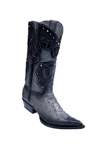 Boots Western Genuine Leather Heel Faded Los Cowboy Toe Men's W Skin Ostrich 3X Altos Gray xfqz18