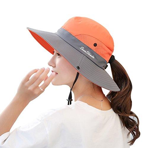 Muryobao Women's Summer Sun Hat Outdoor UV Protection Foldable Wide Brim Bucket Boonie Hats Beach Safari Fishing Cap Orange