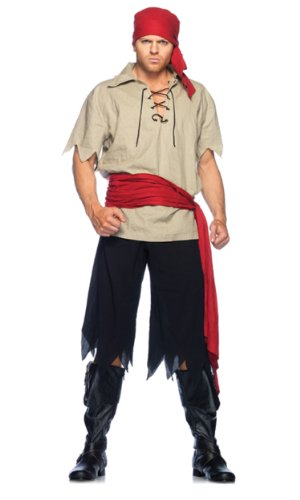 Leg Avenue Men's 4 Piece Cutthroat Pirate Costume, Black/Tan, Medium/Large