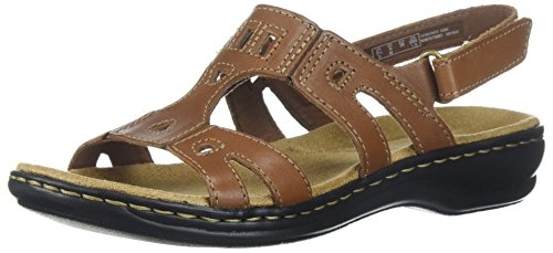 CLARKS Women's Leisa Annual Sandal, Dark Tan Leather, 11 Medium US