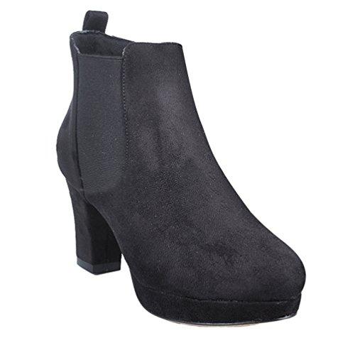 Alto Alto Autunno Tacco Inverno Scarponcini Stivaletti Donna da Boots Boots WanYang Blocco Scarpe Nero Moda Tacco a Oqpx5FzAw