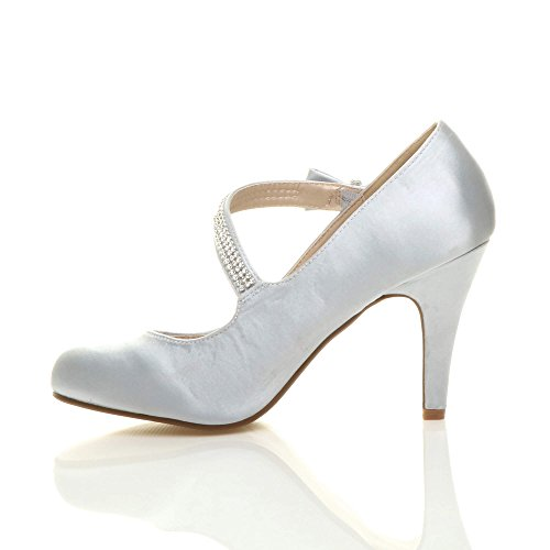 nœud Argent avec chaussures talon babies Strass mariage sangle strass taille haut escarpins Femmes avtq6wSP