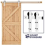 SMARTSTANDARD 6.6ft Nickel Brushed Heavy Duty Sliding Barn Door Hardware Kit, Single Rail, Silver, Super Smoothly and Quietly, Simple and Easy to Install, Fit 36'-40' Wide DoorPanel (I Shape Hanger)