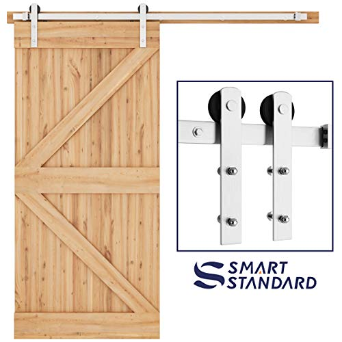 SMARTSTANDARD 6.6ft Nickel Brushed Heavy Duty Sliding Barn Door Hardware Kit, Single Rail, Silver, Super Smoothly and Quietly, Simple and Easy to Install, Fit 36-40 Wide DoorPanel (I Shape Hanger)