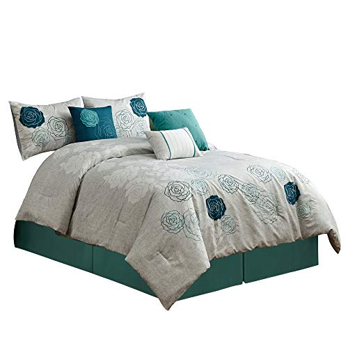 Chezmoi Collection Com Rosie 7-Piece Chic Embroidered Rose Floral Pattern Bedding Comforter Set (King), Teal Blue