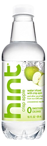 Hint Water Crisp Apple, (Pack of 12) 16 Ounce Bottles, Pure Water Infused with Crisp Apple, Zero Sugar, Zero Calories, Zero Sweeteners, Zero Preservatives, Zero Artificial Flavors by Hint