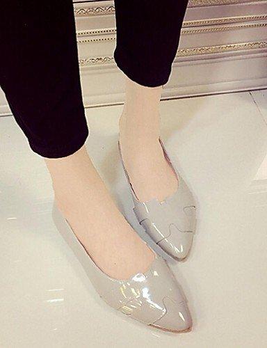 PDX/ Damenschuhe - Ballerinas - Lässig - Kunstleder - Flacher Absatz - Spitzschuh - Rosa / Weiß / Grau gray-us6.5-7 / eu37 / uk4.5-5 / cn37
