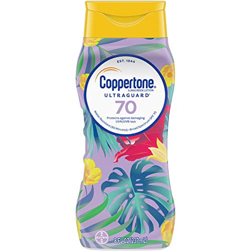 Coppertone ULTRA GUARD Sunscreen Lotion Broad Spectrum SPF 70 (8 Fluid Ounces) (Packaging May Vary)