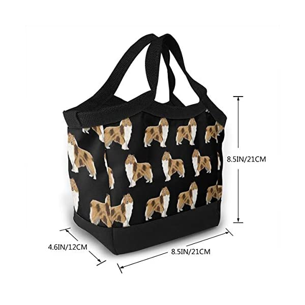 NiYoung Rough Collie Dog Lunch Bags Insulated Lunch Tote Bag Large Reusable Lunch Box Portable Lunchbox Lunch Organizer Lunch Holder for Women Men Kids 2