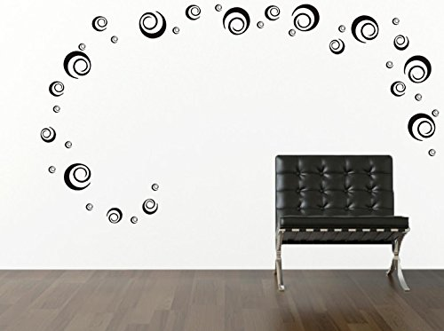 Circle Swirl Wall Decor Art Decals (36 Decals Total = 8-5 In, 10- 3,5 In and 18- 2 In Decals) Home Interior Wall Mural - Keen Paintings