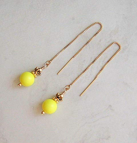 Neon Yellow Round Simulated Pearl Gold Filled Ear Thread Earrings Made w/Swarovski Crystals Gift Idea