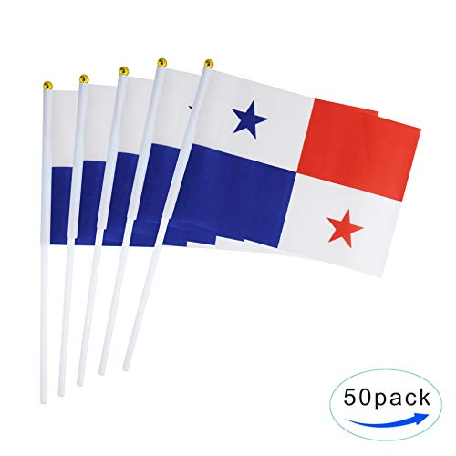 TSMD 50 Pack Panama Panamanian Stick Flag Small Mni Internation Countries National Flags On Stick,Decorations for Panamanian Theme Party Celebration Events
