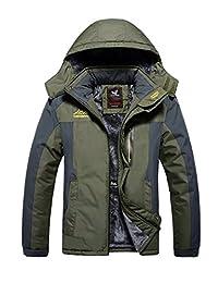 Mens Plus Size Outdoor Coat Waterproof Winter Jacket with Detachable Hood
