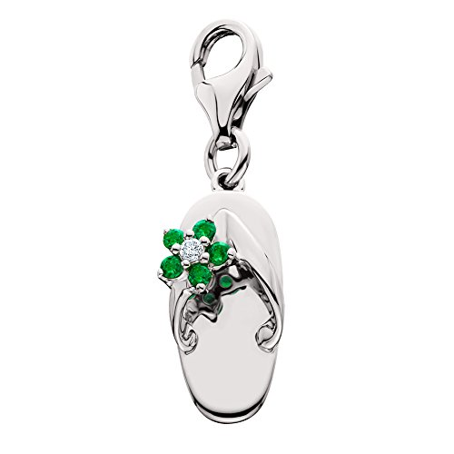 - Amoro 14k White Gold Emerald and Diamond Sandal Charm (0.015 cttw, G-H Color, SI1-2 Clarity)