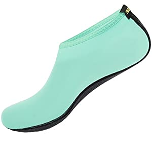 SHOESKISS Barefoot Water Skin Shoes Aqua Socks For Beach Swim Surf Yoga Exercise (4. XL(W:9.5-10.5, M:8.5-9.5), Mint)