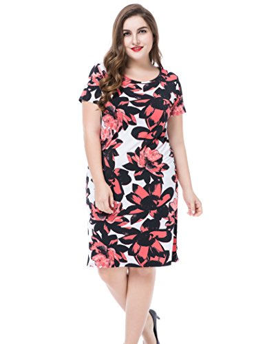 Coral Natural Pink Flower (Chicwe Women's Plus Size Floral Printed Casual Dress - Round Neck Short Sleeves Knee Length Coral 18)