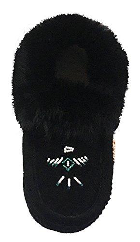 Pantofole Da Donna In Pelle Scamosciata Di Camoscio Nero Con Collo A Coda Di Rondine
