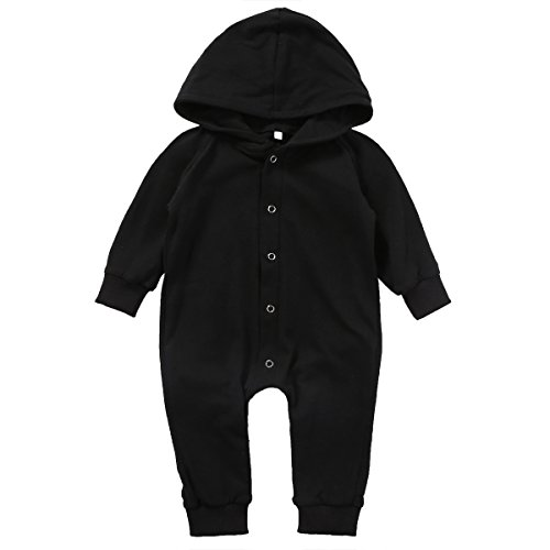 Price comparison product image Pestelley Baby Children Black Hooded Rompers Jumpsuit Bodysuits Graceful Cute (6-12 months,  Black)