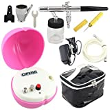 HJLWST OPHIR 0.35mm Nozzle Airbrush with Peach-shape Pink Mini Air Compressor for Cosmetics Tattoo Nail Art
