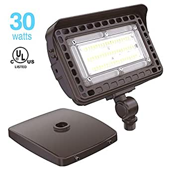 HYPERLITE LED Flood Light 30W with Adjustable 180° Knuckle Mount with  Junction Box 3,600LM 5000K Daylight for Wall Mounting 5-Year Warranty  UL/DLC