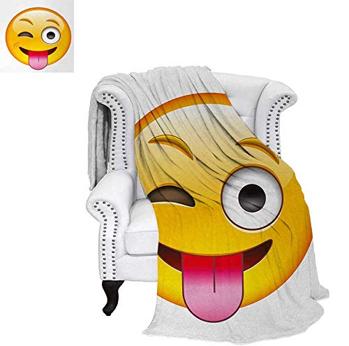 Digital Printing Blanket Cartoon Like Technologic Smiley Flirty Sarcastic Happy Face with Tongue Modern Print Summer Quilt Comforter 90