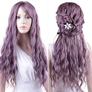 Purple Wigs Women's Long Curly Hair Wavy Wigs with Air Bangs Synthetic Daily Cosplay Party Natural As Real Hair+ Free Wig Cap