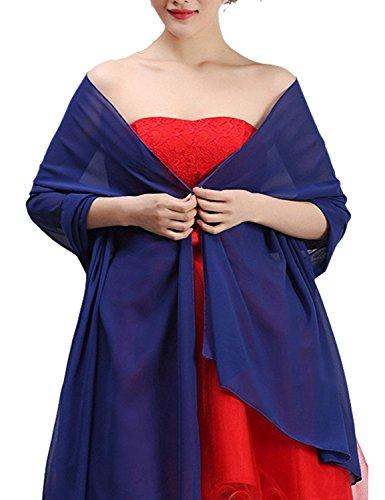 Dames Mousseline De Soie Ld Longue Partie Formelle Châle De Mariée Scarfs Colorées Du Soir Bleu Royal