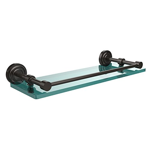 Allied Brass DT-1/16-GAL-ORB Dottingham Collection 16-Inch Glass Shelf with Gallery Rail, Oil Rubbed Bronze
