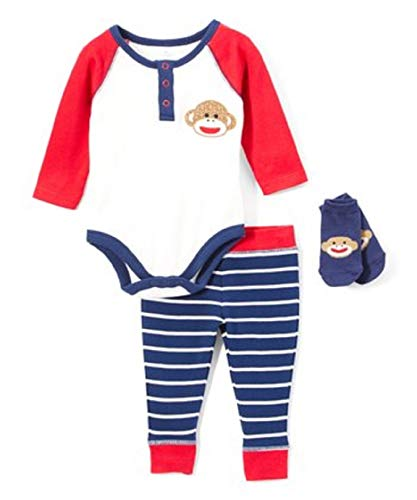 Sock Monkey Baby Clothing - Baby Starters Baby Boys 3 Piece