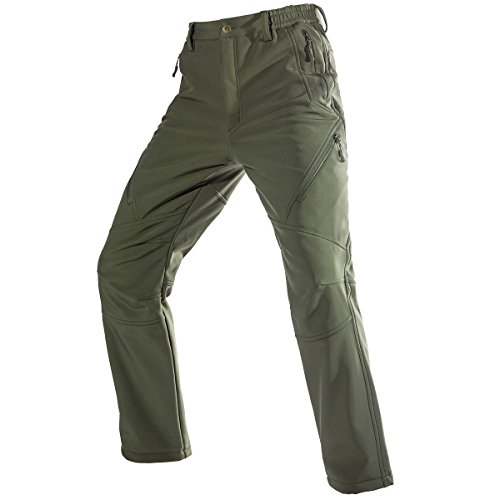 FREE SOLDIER Men's Fleece Lined Water Repellent Softshell Snow Ski Pants with Zipper Pockets(Green 34W/30L)