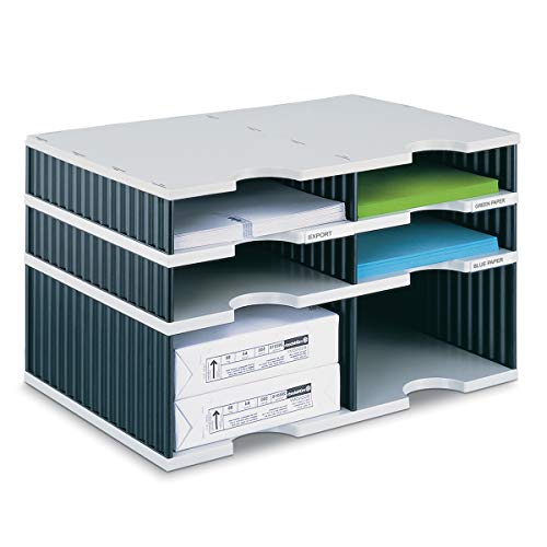 - Ultimate Office TierDrop Literature Organizer/Forms Sorter, 6-Compartment Combination (4 Standard & 2 High-Wall), with Optional Add-On Tiers for Easy Expansion