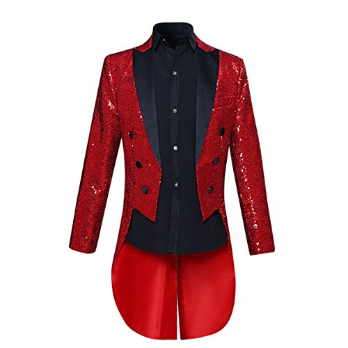 Mens Tails Slim Fit Tailcoat Sequin Dress Coat Swallowtail Dinner Party Wedding Blazer Suit Jacket Red