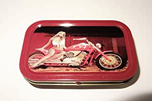 """1oz """"Girl on diseño de bicicleta"""" Tabaco/Bolsillo/Stash lata + 2zigzag azul estándar folletos Combo se vende por Trendz"""
