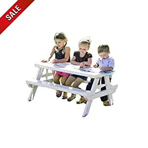 Folding Picnic Table with Benches Outdoor Children's Picnic Table Plastic Kids Portable Foldable Toddler Collapsible White Outside & eBook by AllTim3Shopping
