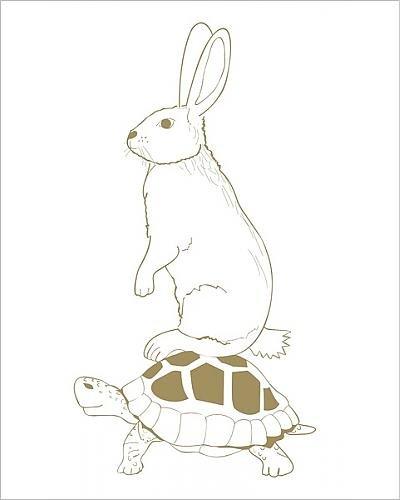 Photographic Print of Digital illustration of hare sitting on back of - Tortoise Australia In