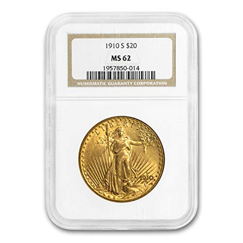 1910 S $20 Saint-Gaudens Gold Double Eagle MS-62 NGC G$20 MS-62 NGC