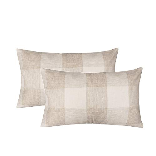 (famibay Plaid Throw Pillow Covers Rectangular Tartan Checkers Cotton Linen Pillow Cases Decorative Pillow Cushion Covers for Home Sofa Couch Bed 12x20 Inch Pack of 2 Beige)