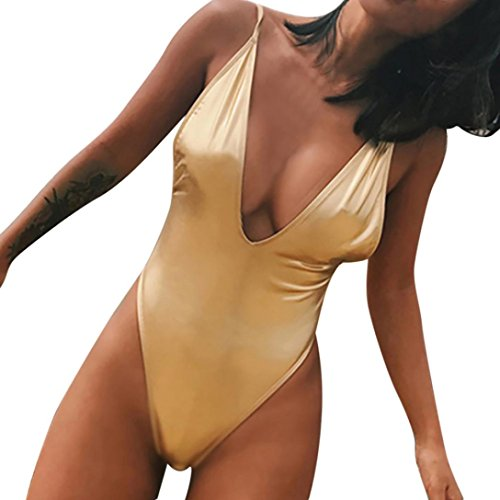 Rambling New Sexy Bright Skin Womens Monokini Deep V One Piece Backless Cheeky Swimwear Semi Thong (Brazil Bikini Bottoms)
