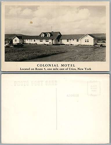 UTICA N.Y. COLONIAL MOTEL VINTAGE REAL PHOTO POSTCARD RPPC hotel