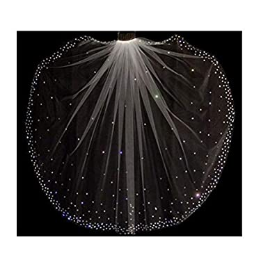 Fenghuavip Wedding Veil Fingertip Length 1 Tier Rhinestones Crystals with Comb