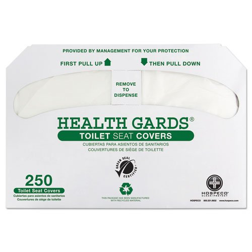 Hospital Specialty Co. Health Gards Recycled Toilet Seat Covers, White, 250/Pack - Includes four packs of 250 seat covers each.