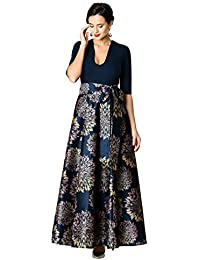 510762612e FX Floral Print Dupioni and Cotton Knit Maxi Dress - Customizable Neckline