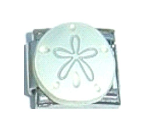 SAND DOLLAR SEA BISCUIT BEACH Enamel Italian Charm 9mm - 1 x OC153 Single Bracelet - Charm Italian Traditional