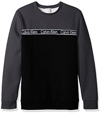 Calvin Klein Men's Long Sleeve Crew Neck Sweatshirt with Logo Tape Detailing