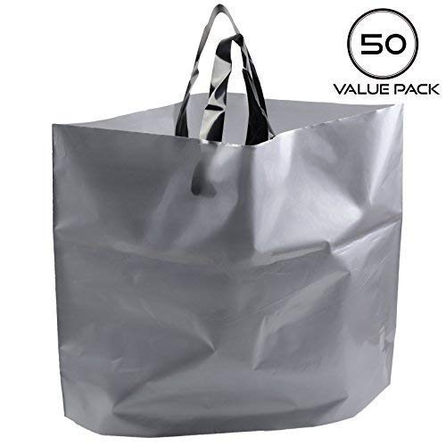 14'x18' Large Boutique Merchandise Bags 3 Mil Extra Thick, 50pcs Frosted Plastic Gift Shopping Bags with Handles Bottom Gusset for Retail Clothing Grocery Store Lularoe