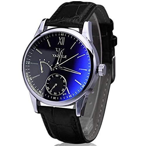 Han Shi Wristwatch, Mens Luxury Fashion Faux Leather Blue Ray Glass Quartz Analog Watches (A, Black)