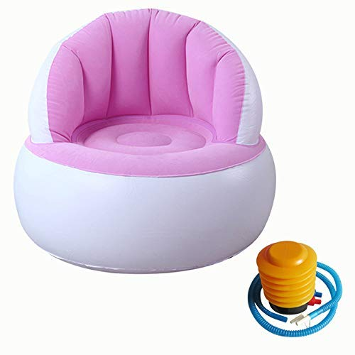 Mcottage Kids Flocking Chair Pouf with Backrest Inflatable Soft Sofa for Kids